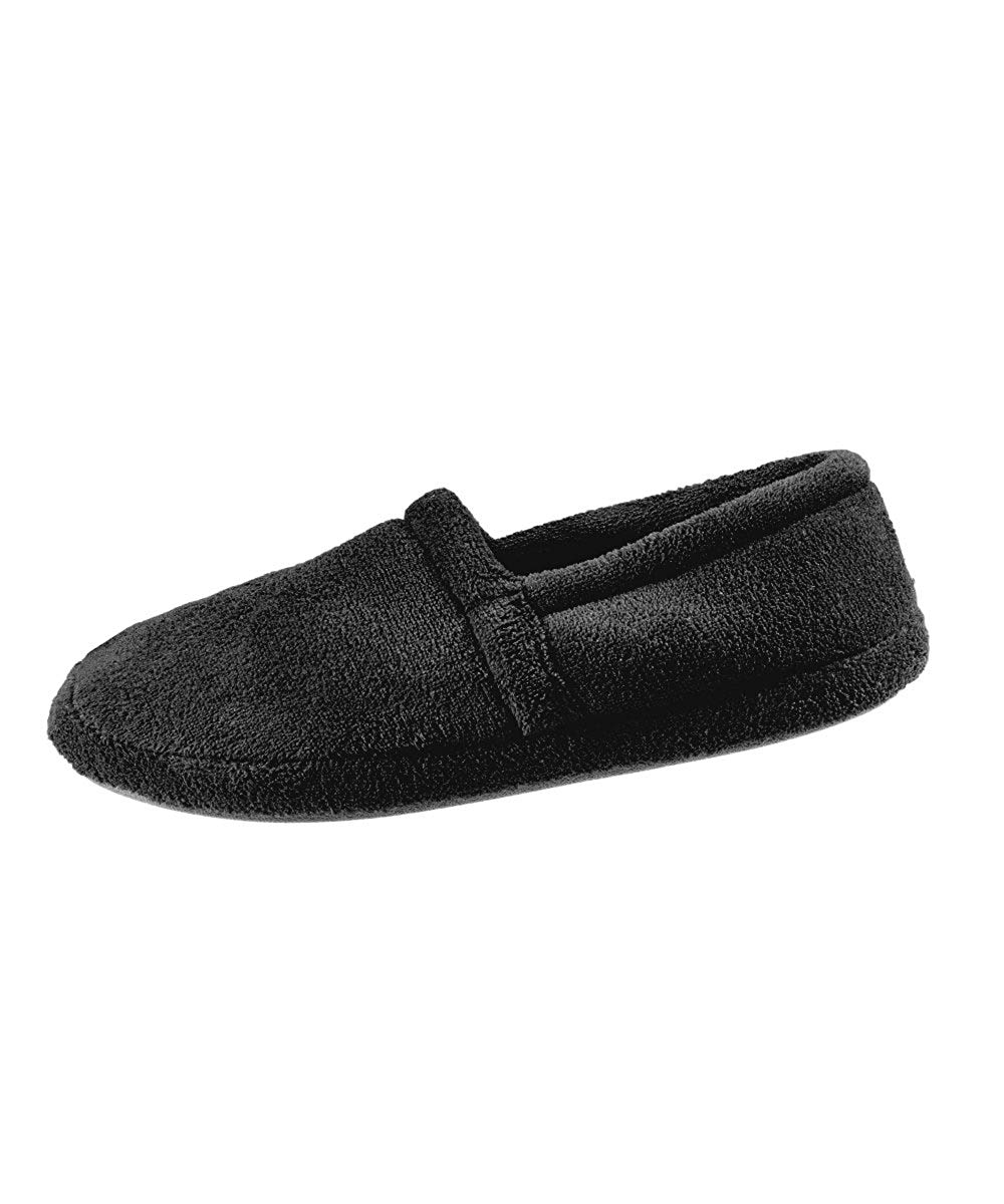 Most Comfortable Mens Slippers - Best Mens Slippers With Memory Foam Comfort Slippers - Wide Mens Bedroom Slippers – Terry Fleece Slippers - Black SMA