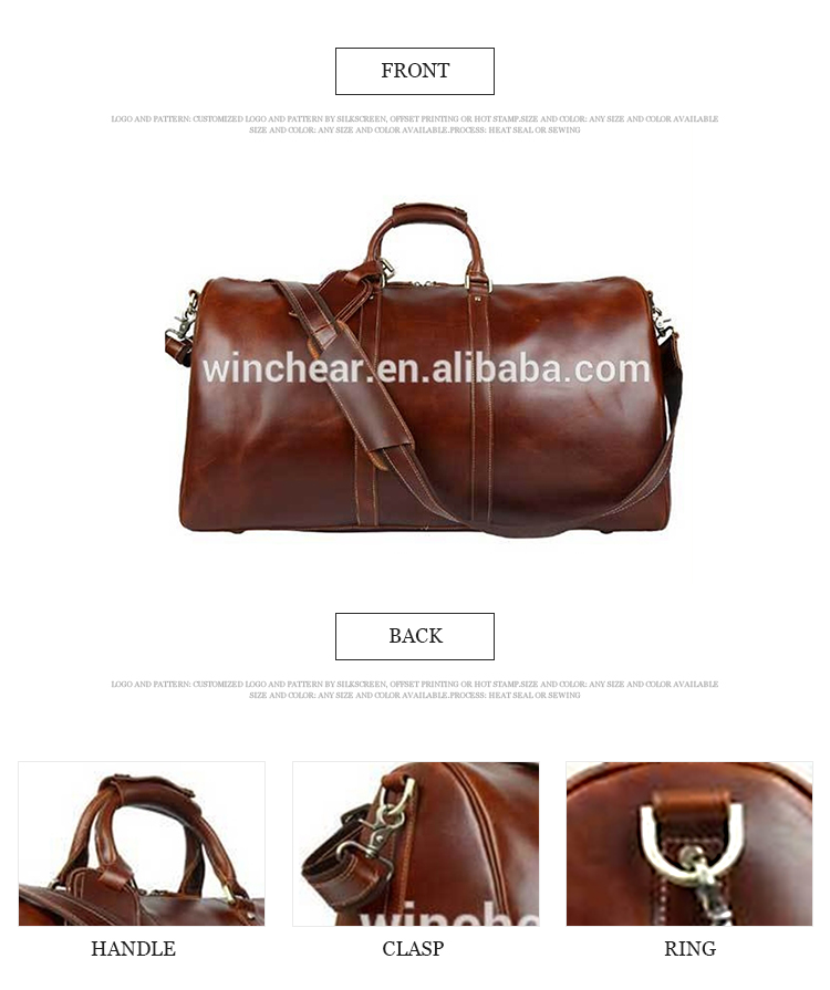 Great price retro brown genuine leather gold hardware round duffel weekend big travel China cheap duffle bag luggage