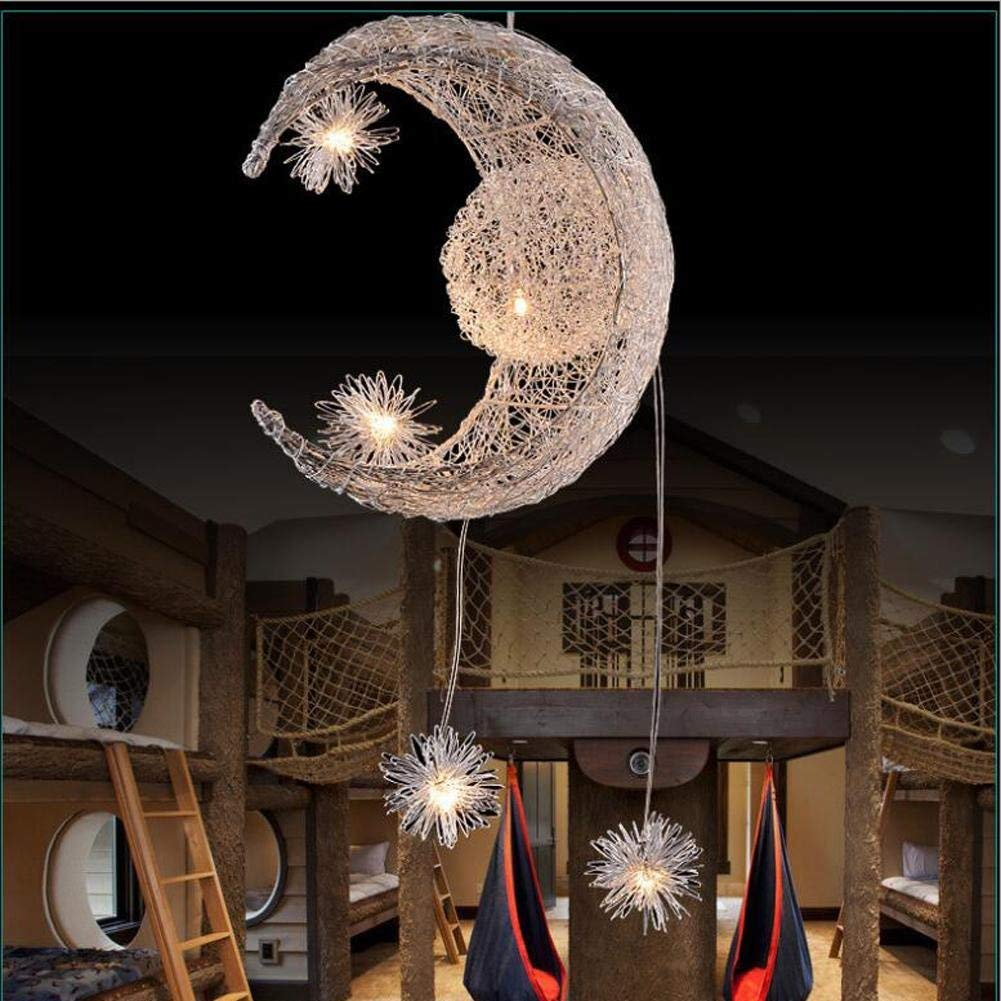 Wei-d LED Nest Lights Stars Moon Chandeliers Creative Simple Fashion Bedroom Lights Children 'S Restaurant Crystal Hanging Lamps Pendant Light, A