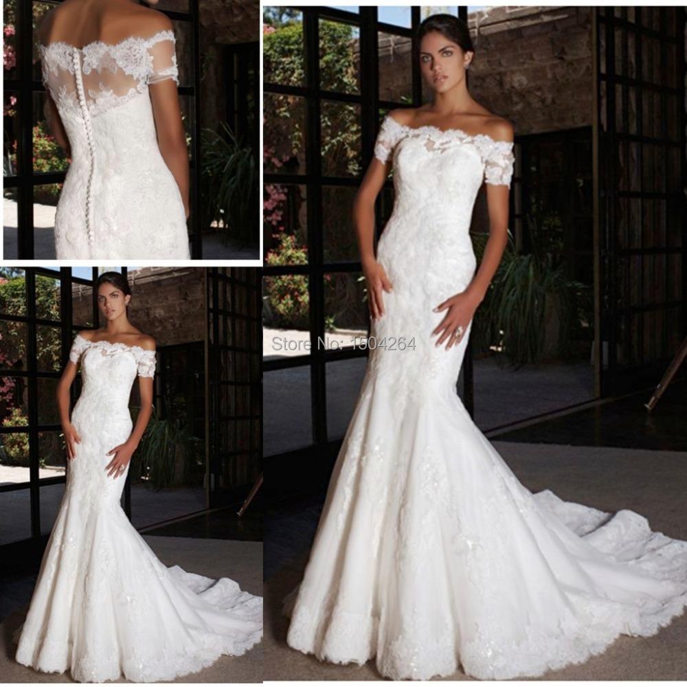 20 Elegant Simple Wedding Dresses Of 2015: White Elegant Mermaid Wedding Dresses 2015 Short Sleeve