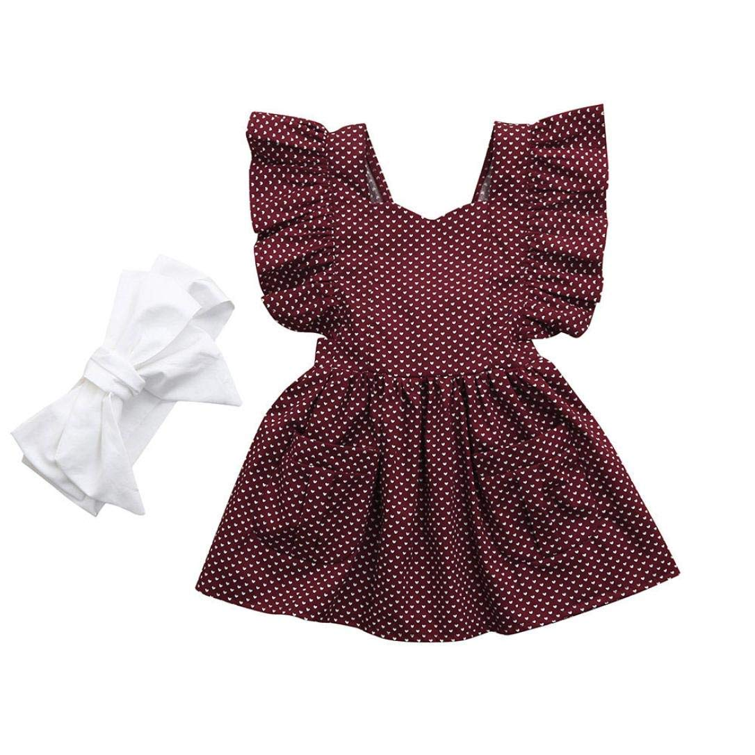 Infant Kids Baby Girls Dot Print Bow Pocket Princess Party Dress+Headband Outfit Set (6-12 Months, Wine)