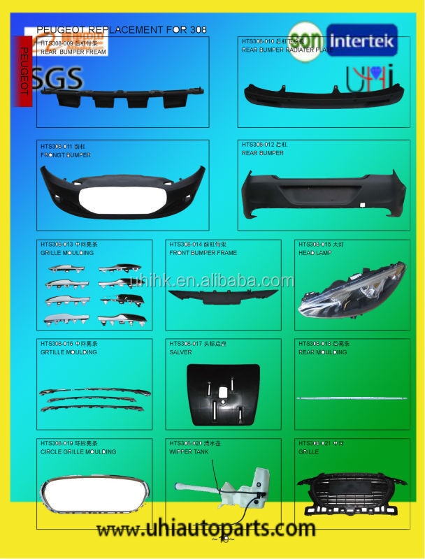 car body parts---bumpers bumper frame headlamp moulding wiper tank