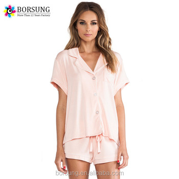 42ce641c7 Últimos diseños de dos piezas corta de las mujeres conjunto de Pijamas de  primavera verano