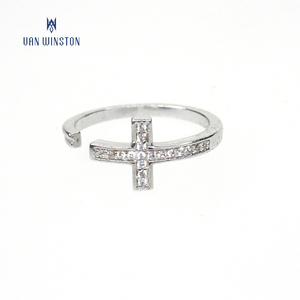 Wholesale open jewelry copper diamond zircon stone cross ring