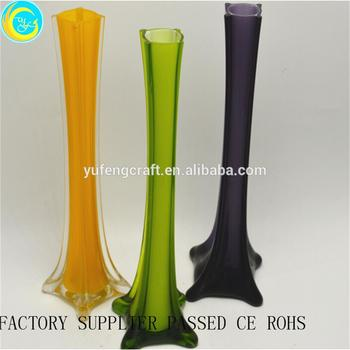 Shining Colorful Long Neck Glass Vases Decorative Home Deco Crafts