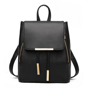 Girls bags hot sale mini black pure PU leather backpack women red leather backpack PU fashion beautiful