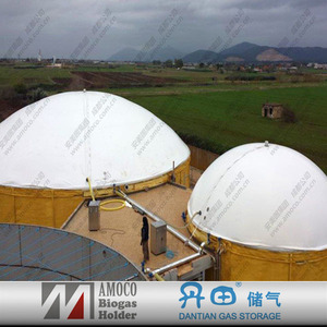 Portable biogas fermenter for food waste treatment with biogas membrane cover