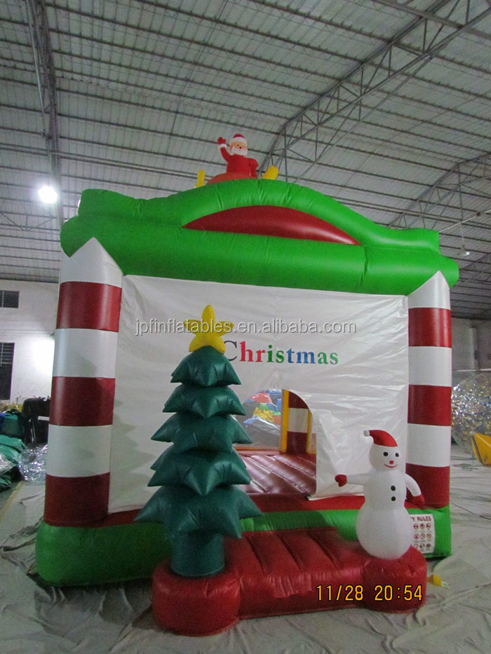 2019  Christmas decorations inflatable bouncy house castle with Christmas tree and snowman