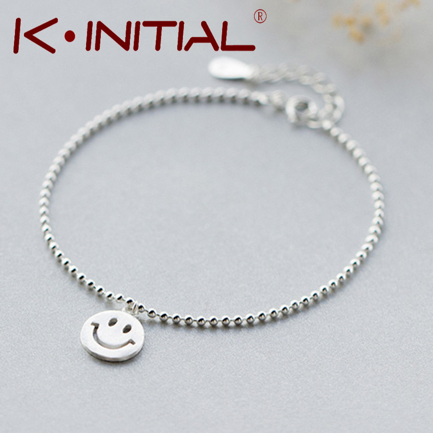 4c53934794744 US $8.39 |Kinitial 1Pcs 925 Silver Smile Emoji Smile Round & Lucky Beads  Chain Bracelet Bangle Adjustable Charm Wrist Cuff Brcelet Jewelry-in Chain  & ...