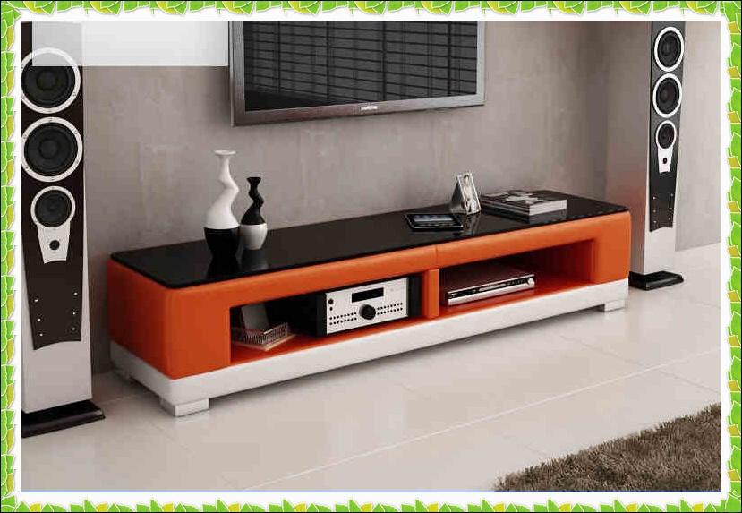Modern black leather TV bench long floor cabinets hot