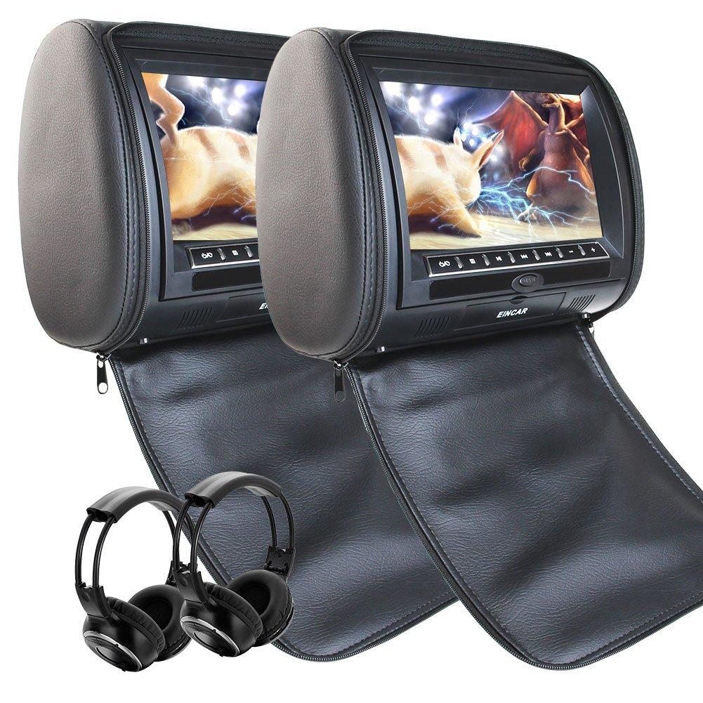 EinCar Headrest Pillows x 2 2PCS Universal Car DVD Player Multivideo Pillows Auto Monitor support IR FM Transmitter Dual Car Video USB SD for Entertainment with Infrared Headphones x 2