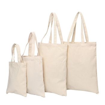 Wholesale Custom Print Logo Cheap Reusable Shopping Bags Plain White Blank Cotton Canvas Tote Bag Low MOQ