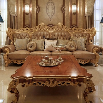 European Classic Style Royal Furniture Gold Color Carved Wood And Genuine  Leather Sofa Set With Button - Buy Royal Furniture Leather Sofa Set,Carved  ...