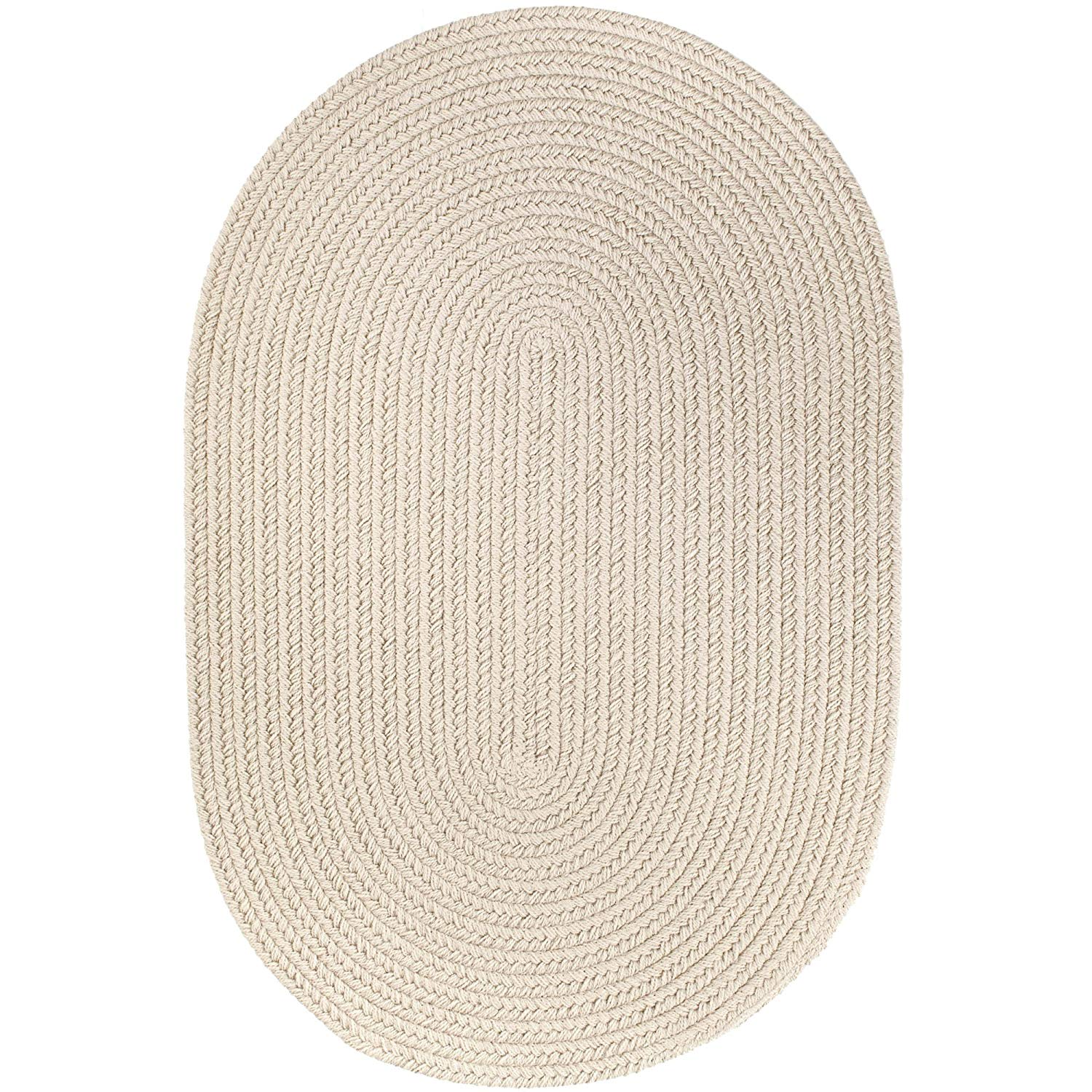 Super Area Rugs Maui Braided Rug Indoor Outdoor Rug Washable Reversible White & Ivory Patio Porch Kitchen Carpet, 10' X 13' Oval