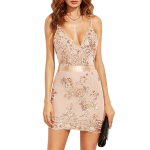 2018 Hot Sell Deep V Neck Sexy Women Dress Custom Slip Backless Party Club  Lady Gold 133d3c53e7c5