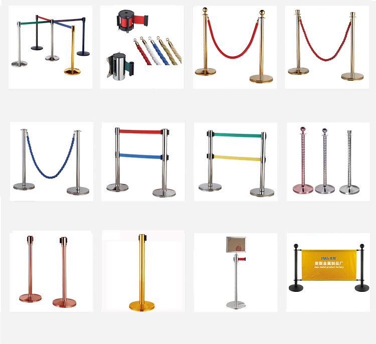 2 pack finish crowd control gold stanchion queue stand rope barriers for airport barricade