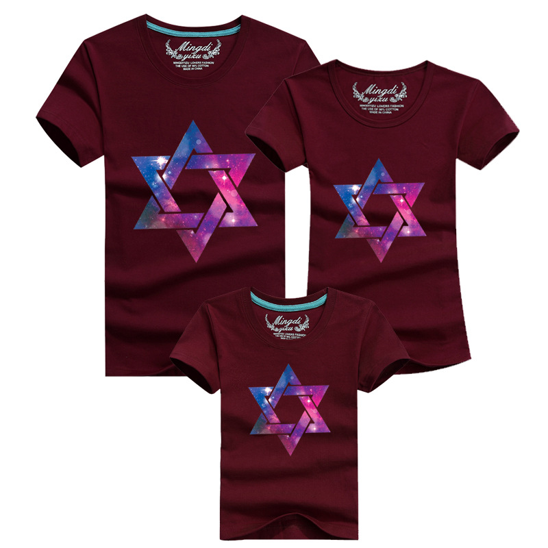 1psc Family Look Star Fitted Short Sleeve T shirt Matching Mother Daughter Clothes Vetement Famille Women