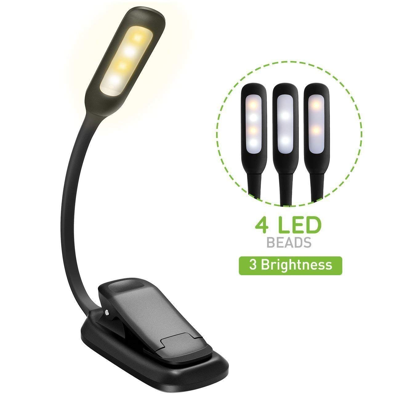 GerTong Reading Light, 4 LED 3 Brightness Modes Clip On Book Light USB Rechargeable Reading Lamp, Flexible Eye-Care and Portable Music Stand Light for Night Reading in Bed [Energy Class A+]