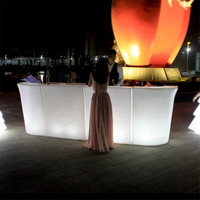 rechargeable illuminated led bar counter/ led bar counter / plastic night bar table with water proof for night club