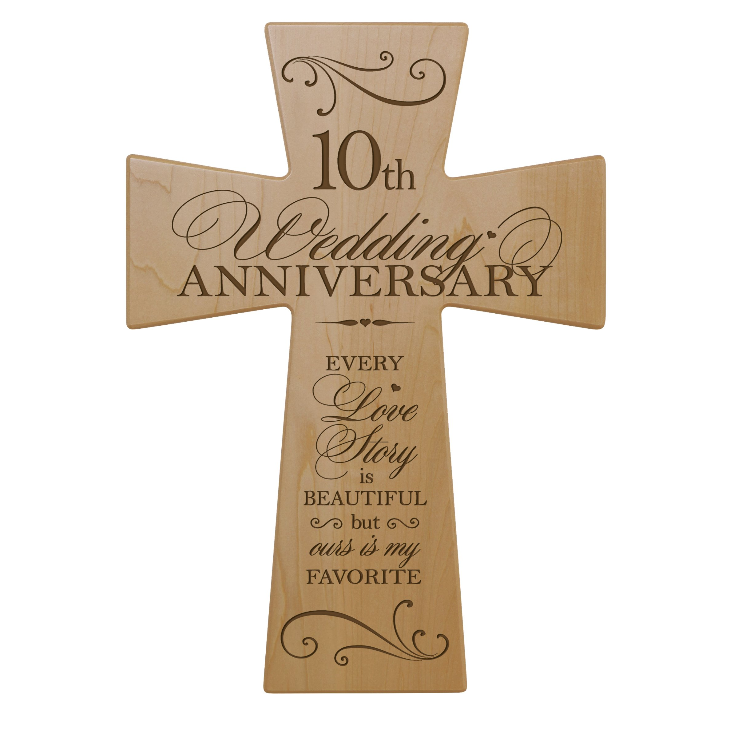 Buy 10th Wedding Anniversary Maple Wood Wall Cross Gift For Couple