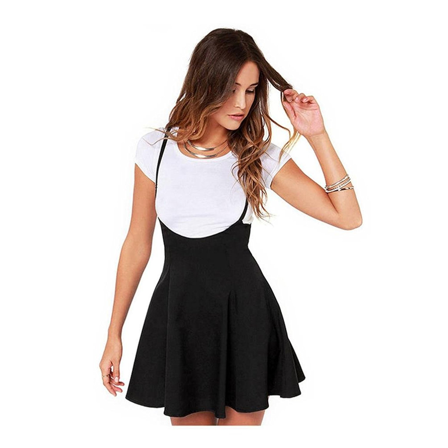 Ninasill Women Dress, ღ Hot Sale ღ ! Fashion Black Skirt With Shoulder Straps Pleated Dress T-Shirt Skirt Blouse Tops