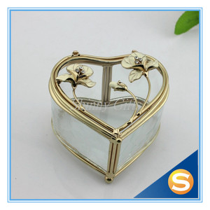 Glass Heart Shape Treasure Chest Jewelry Box Party Gifts