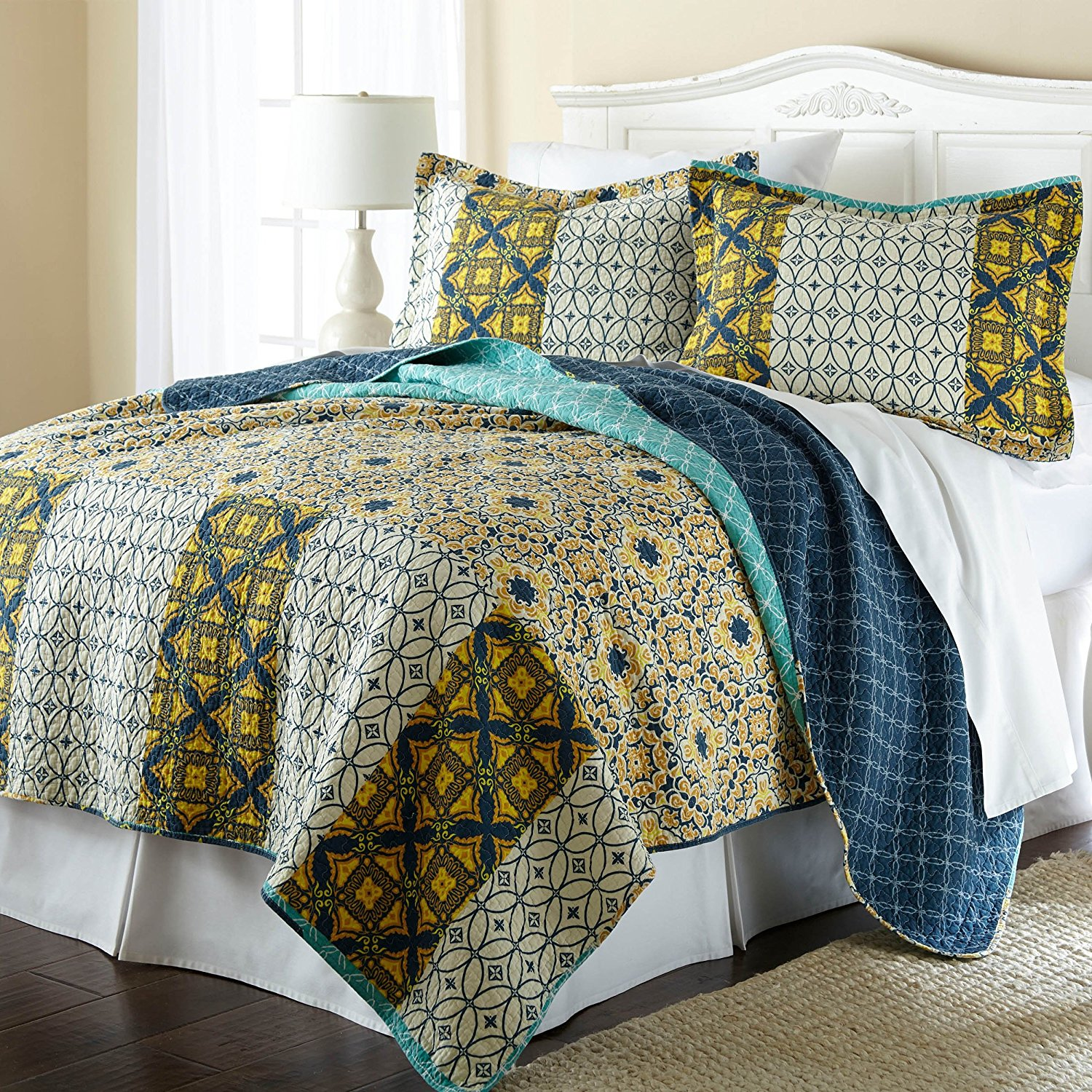 3 Piece Full/Queen Lovely Mid-Century Geometric Pattern Quilt Set, Traditional Stunning Modern Graphic Patchwork Design, Vibrant Abstract Printed Theme Reversible Bedding, Adorable Yellow, Multi Color