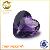Wuzhou zuanfa stock amethyst heart shape glass gems, synthetic crystal, loose colored stone