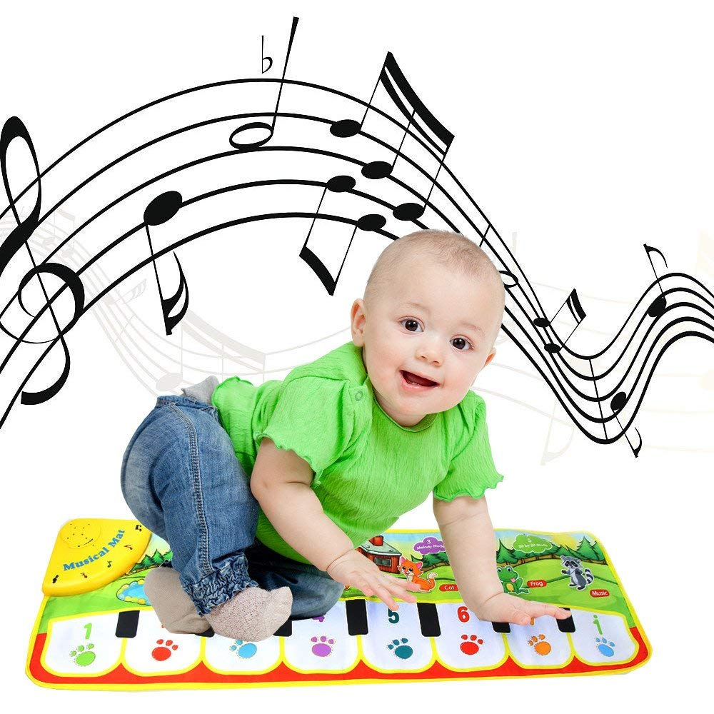 Gbell Kids Piano Keyboard Music Play Mat Toys, Musical Floor Touch Dancing Mat Educational Games Gym Toys for Baby Toddlers Girls Boys Kids 1-6 Years Old,90×27CM