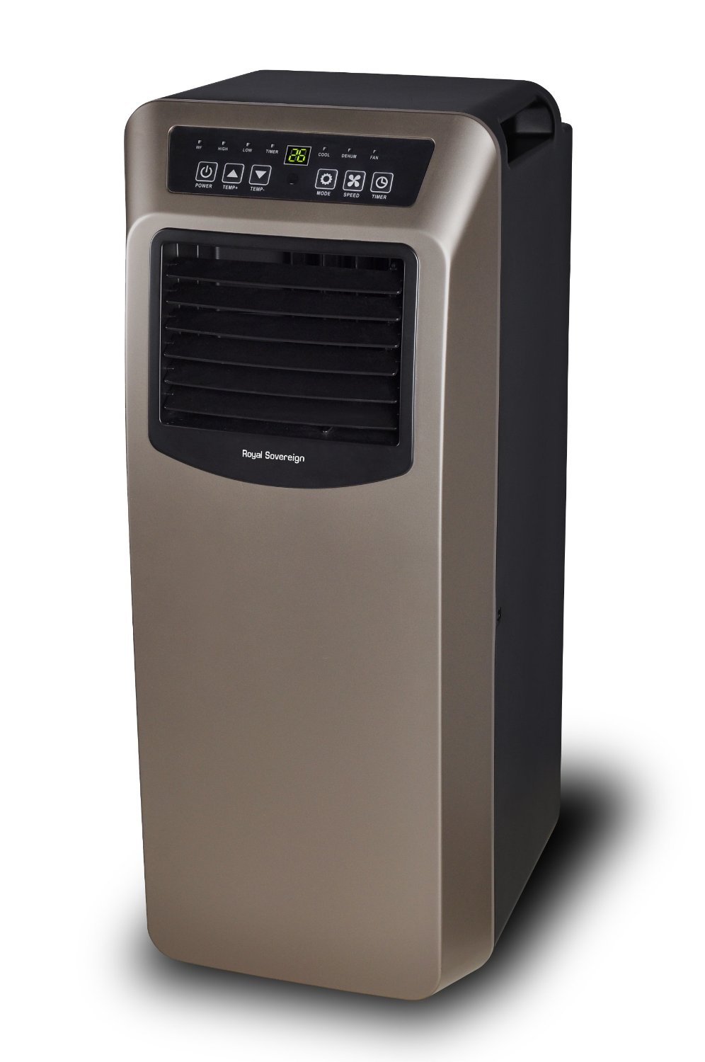 Royal Sovereign 14,000 BTU 3-in-1 Portable Air Conditioner, Dehumidifier, Fan, Window Kit & Remote Control Included, Black & Silver (ARP-7014)