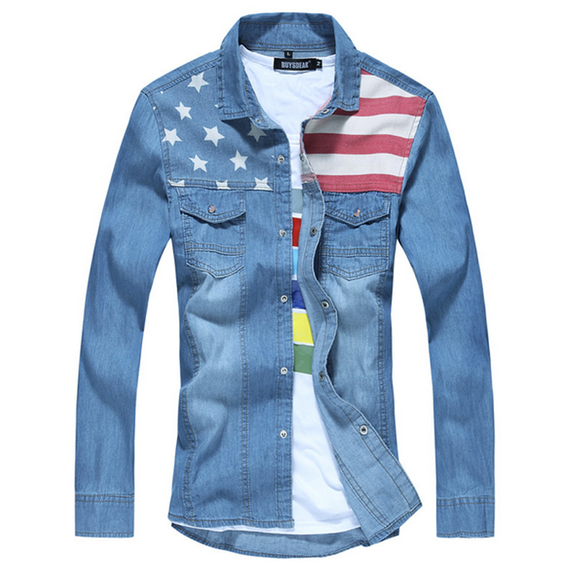 Get Quotations · Cotton Flag Print Slim Fit Jeans Denim Shirts Men Long  Sleeve Korean Mens Desigual Clothes Pocket a76e394ceff