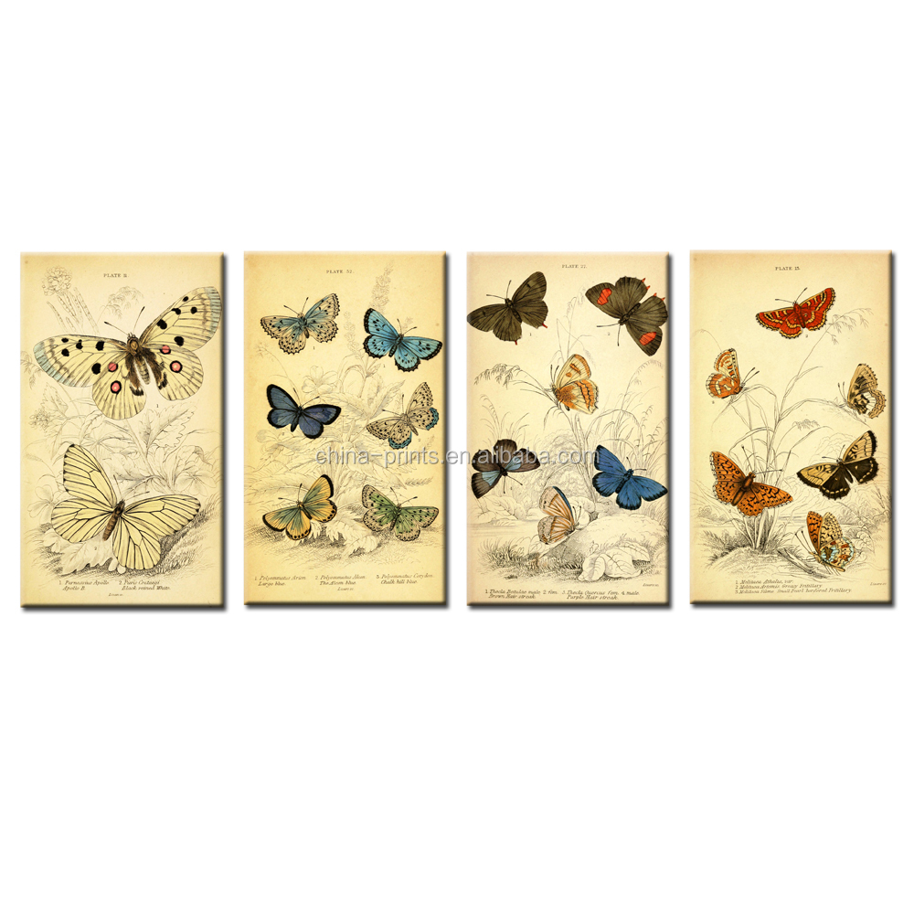 Butterfly Drawing Canvas Printing Pencil Sketch Picture Canvas Printed Artwork Nature Scenery Giclee Prints Interior Decoration