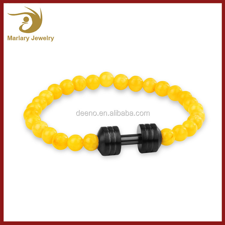 Bodybuilding Healing Bead Natural Black Magnetic Lava Turquoise Stone Dumbbell Bracelet Products For Fitness Sport Gym