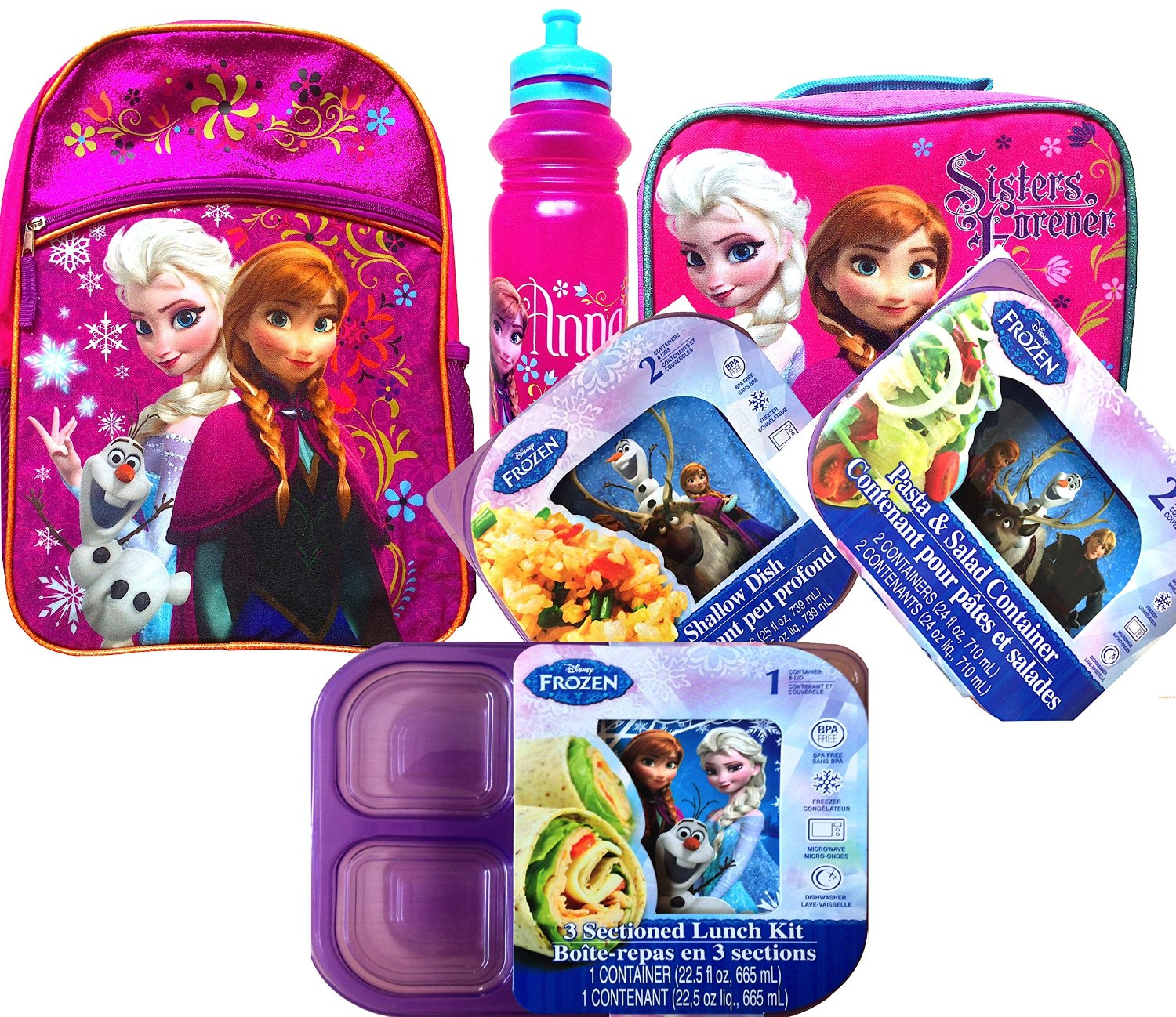 Disney Frozen Back to School Backpack with Frozen Children's Lunch Box Includes Pull-top Water Bottle,3 Sectioned Lunch Kit Container, Pack of 2 Containers for Pasta & Salad Container, Pack of 2 Shallow Dish Containers All with Lids.