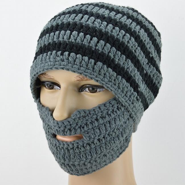 Fashion Winter Men Womens Ski Mask Hats Crochet Knit Beard Beanie
