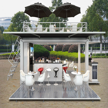 hydraulic Opening System Shipping Container Coffee Shop For Mobile cafe bar design and food Kiosk booth