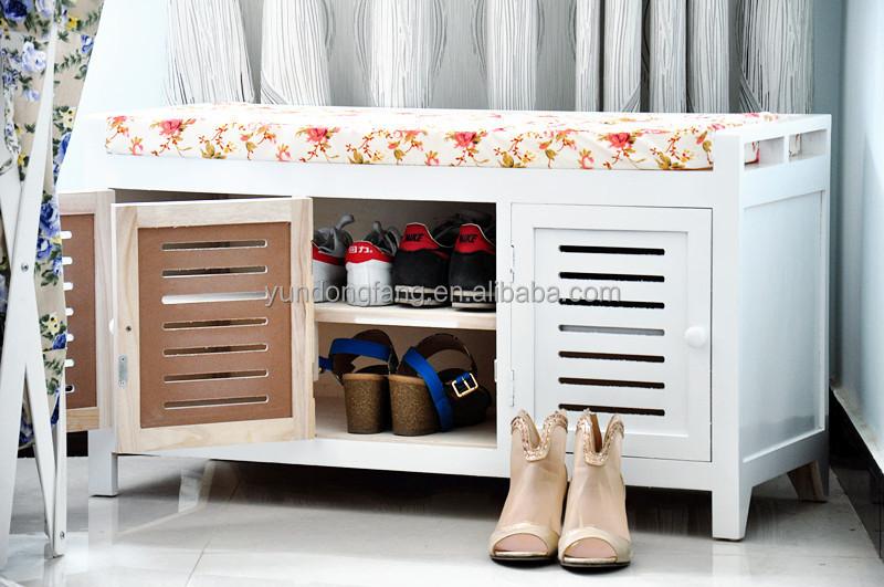 Lujo Zapato De Entrada Muebles Banco De Almacenamiento Festooning ...