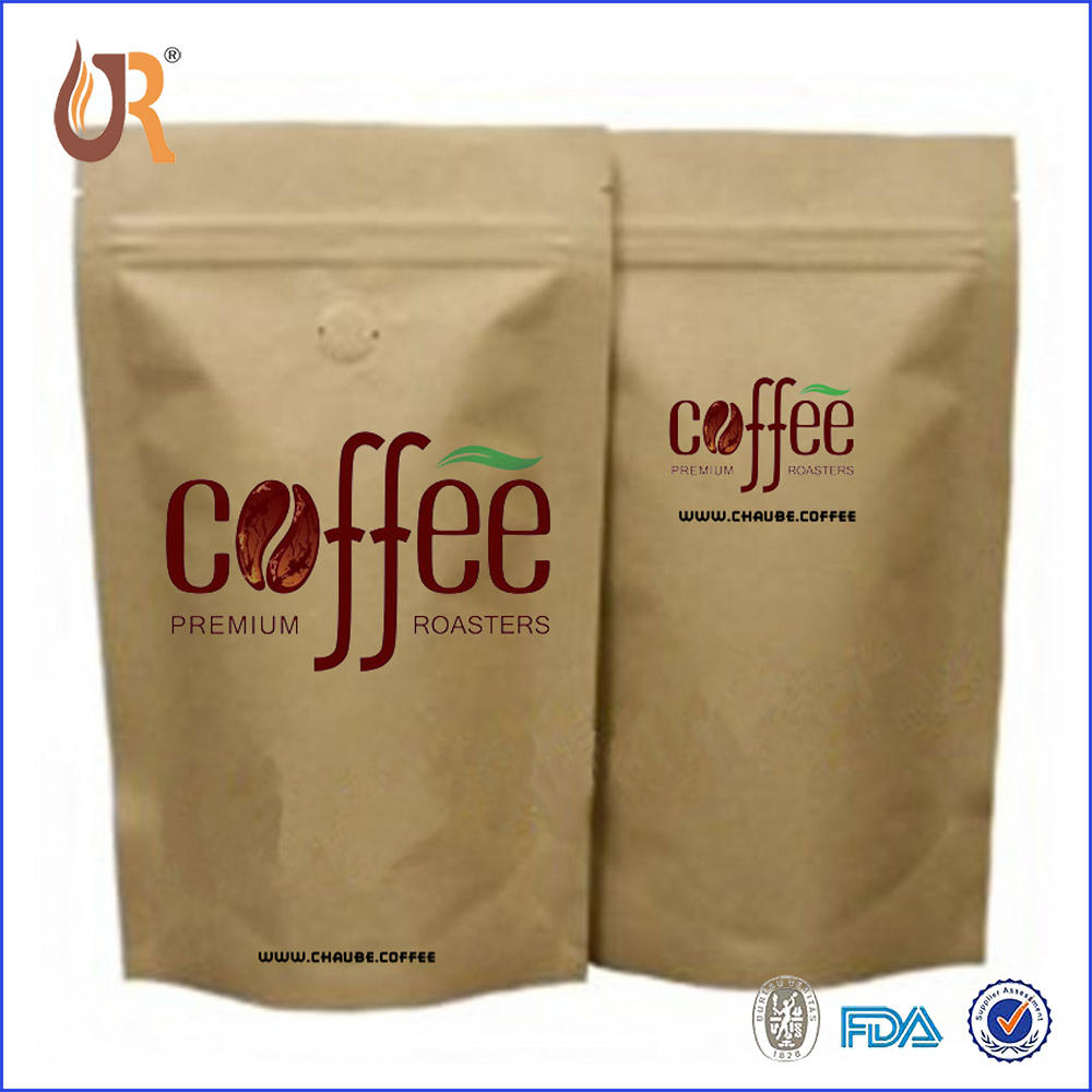 Whole 12oz Craft Paper Coffee Bag With Valve