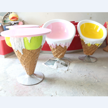 Fiberglass Ice Cream Decoration Shop Furniture Chair And Table