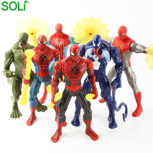 Set of 6 Marvel Doll Light Decoration Hand-made Children's Toys Joint Movable Spider Man Action Figure