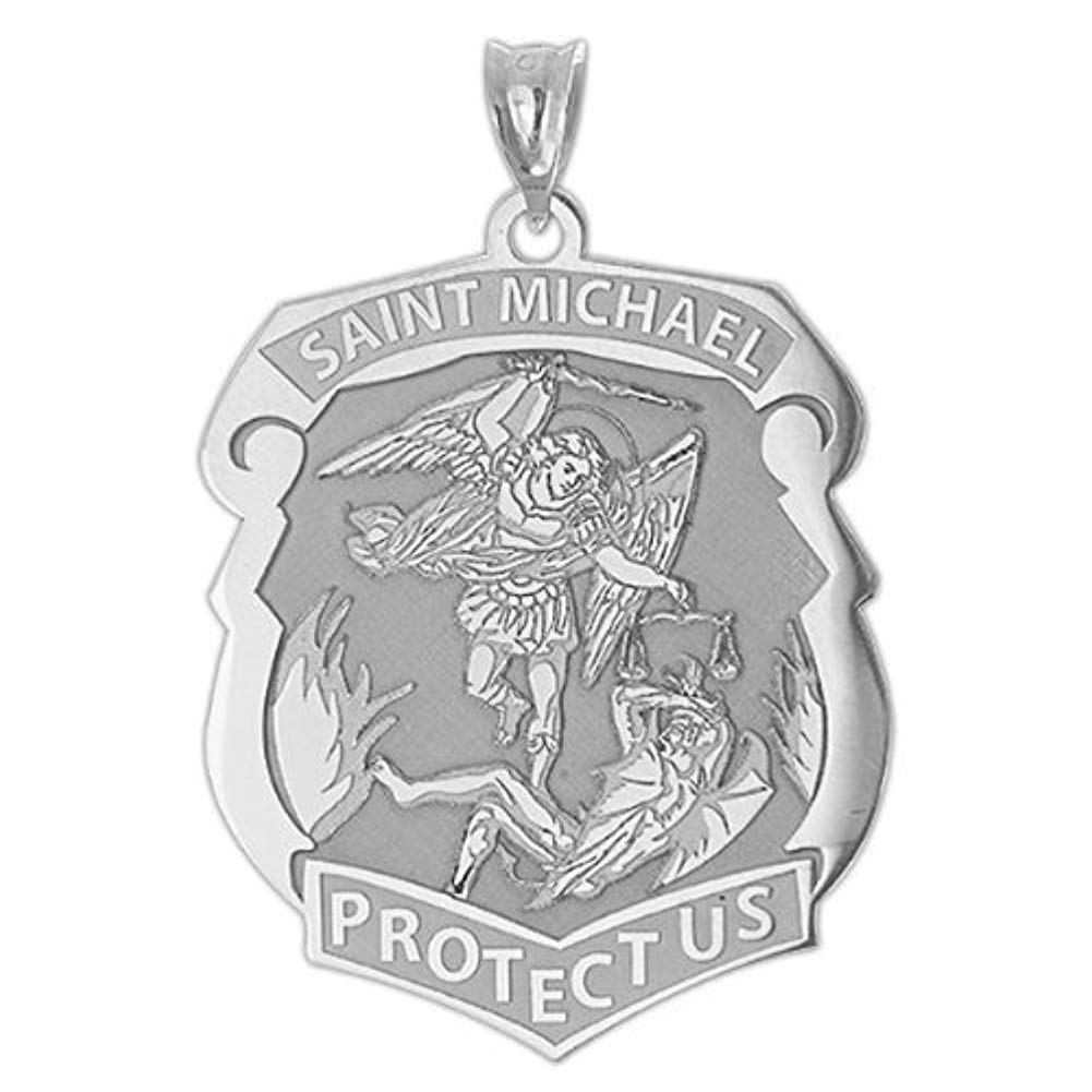 Saint Michael Badge - Available in Solid 10K And14K Yellow or White Gold, or Sterling Silver