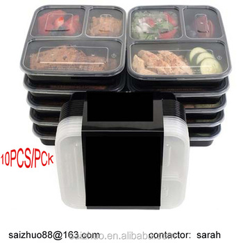 Bpa Free Eco Friendly Fda Roval Microwave Safe Black 3 Compartment Takeaway Plastic Food Container