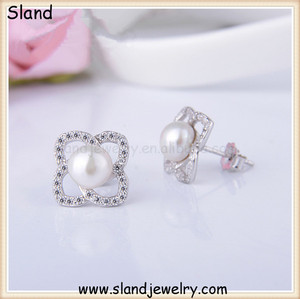 (SSE-150) Best Quality Luxury 925 sterling silver bridal earrings/Platinum Plated Freshwater Pearl cz flower earrings