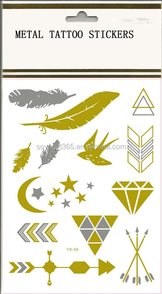 Gold Silver Metallic Swallow Feather Star Diamond Arrow Moon Tattoo Stiker