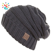 Tri blend leather label beanie cotton polyester spandex triblend winter women hats sport ski outdoor knit cap