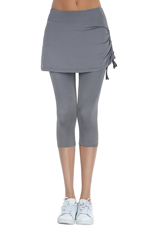 fcd1266c1c Get Quotations · Slimour Womens Tennis Skapri Skirted Legging with Pockets  Skirted Capri Yoga Pants Athletic Running Skort