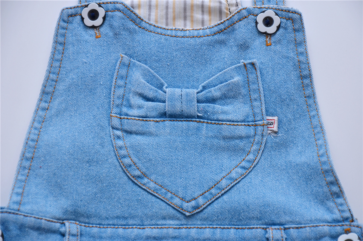 Hot sale china manufacturer girls' denim overalls baby denim skirt mini