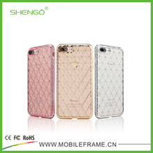 High Quality Electroplating TPU Case Cover Crystal Decorated Phone Cases Jeweled Flats for iPhone 7