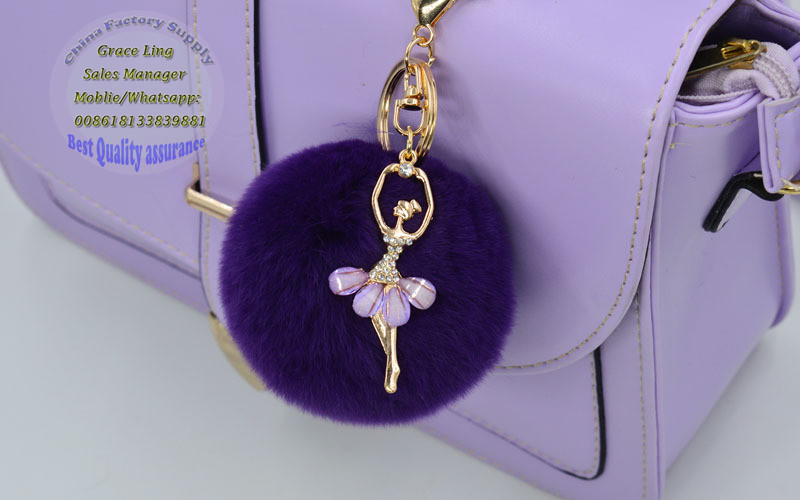 13 cm Large Puffs Ballet Girl Fur Purse Charm Tote Accessories Plush keychains Fuzzy Big Pompoms keyringss Bag Charm