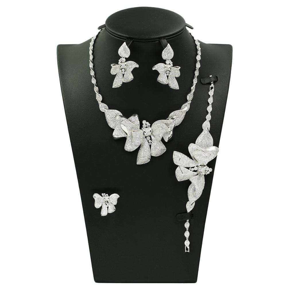2019 new design bridal earrings set zircon jewelry set cubic zircon jewelry sets, Gold or sliver or mix-color